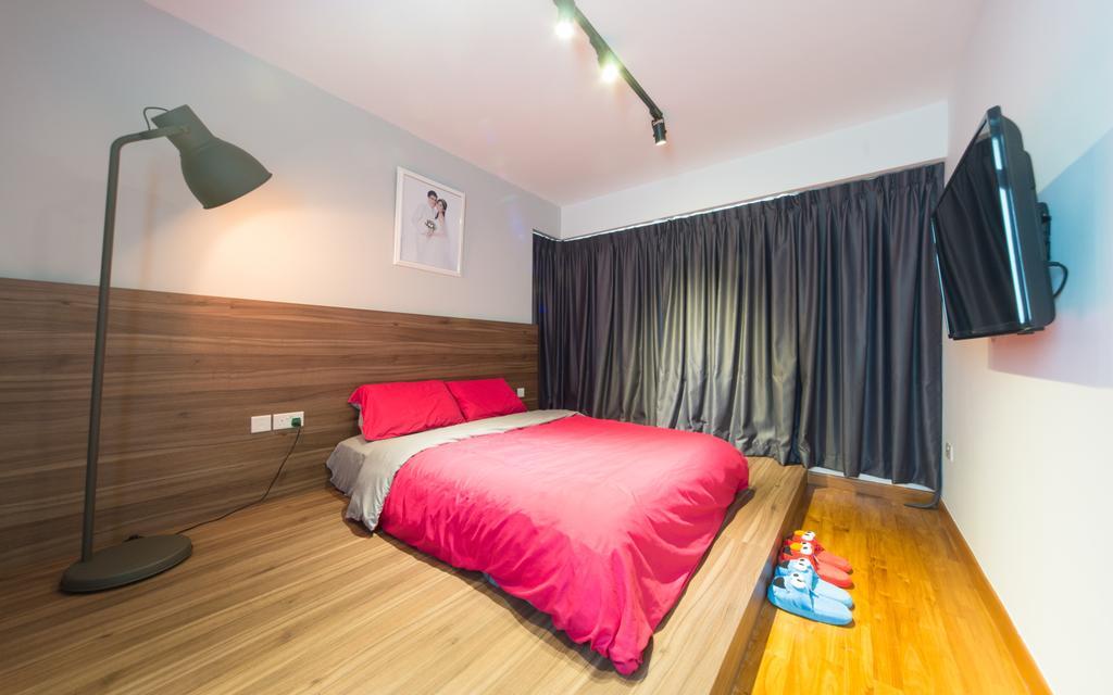 Modern, HDB, Bedroom, Sengkang East, Interior Designer, D Initial Concept, Minimalistic, Indoors, Interior Design, Room, Lamp, Bed, Furniture