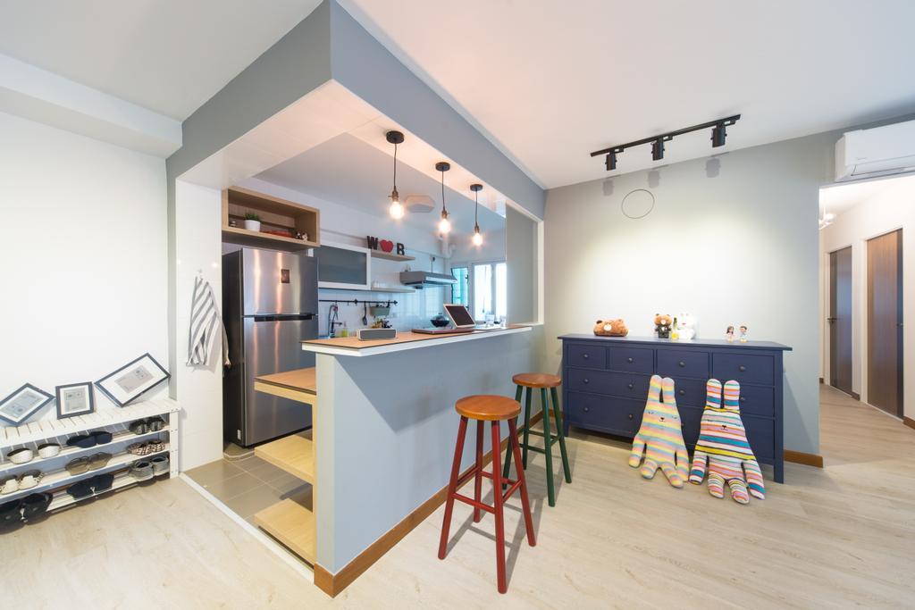 Modern, HDB, Kitchen, Sengkang East, Interior Designer, D Initial Concept, Minimalistic, Bar Stool, Furniture, Dining Room, Indoors, Interior Design, Room