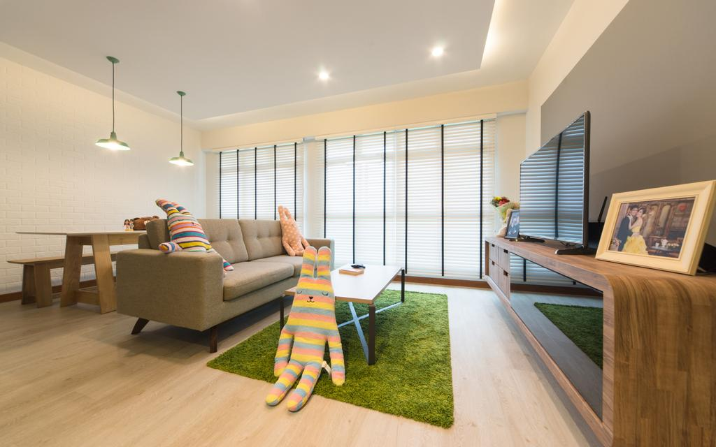 Modern, HDB, Living Room, Sengkang East, Interior Designer, D Initial Concept, Minimalistic, Bench, Couch, Furniture, Dining Table, Table, Plywood, Wood, Indoors, Interior Design