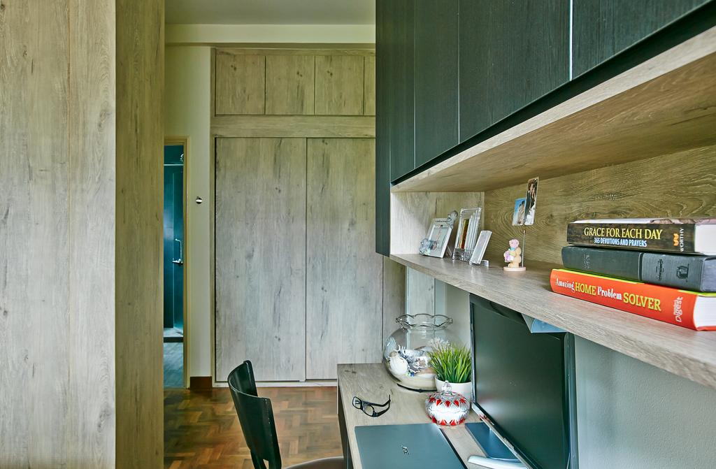 Eclectic, Condo, Bedroom, Hindhede Drive, Interior Designer, Fuse Concept, Wooden Cabinet, Wooden Wardrobe, Open Shelf, Wooden Shelf, Study Desk, Shelf