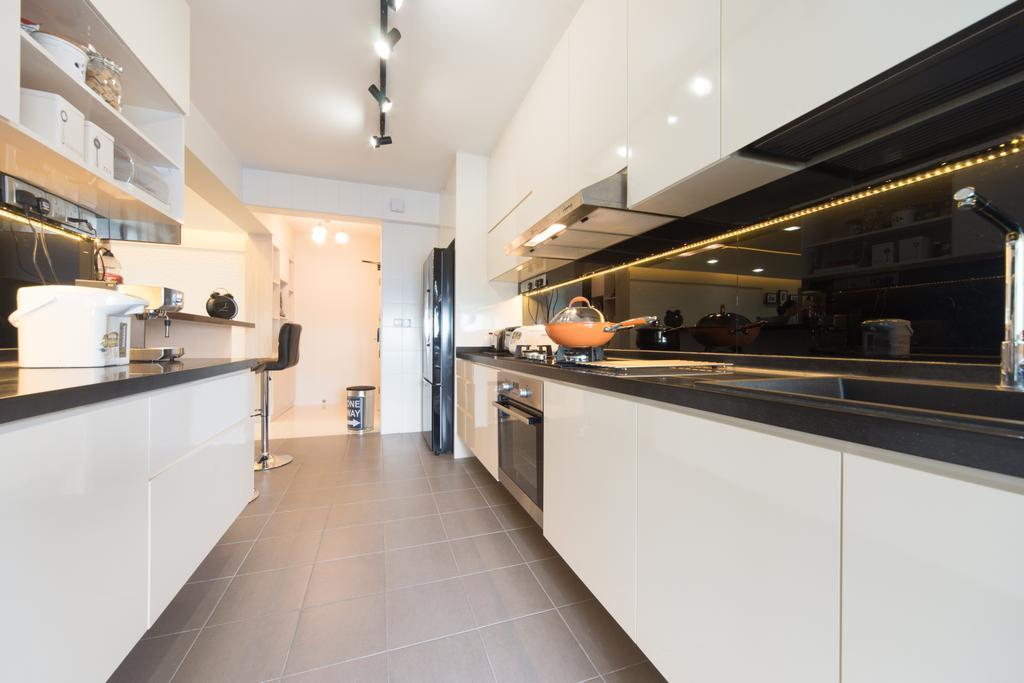 Modern, HDB, Kitchen, Punggol Walk, Interior Designer, D Initial Concept, Tile