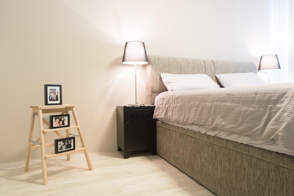 Modern, HDB, Bedroom, Punggol Walk, Interior Designer, D Initial Concept, Shelf, Bed, Furniture, Mattress, Lamp, Lampshade