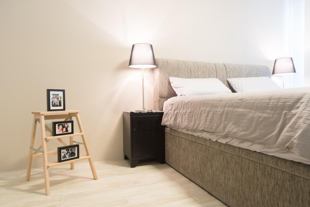 Punggol Walk, D Initial Concept, Modern, Bedroom, HDB, Shelf, Bed, Furniture, Mattress, Lamp, Lampshade