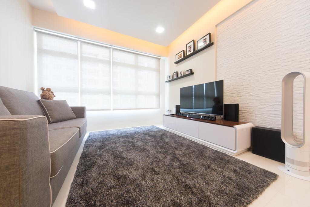 Modern, HDB, Living Room, Punggol Walk, Interior Designer, D Initial Concept, Couch, Furniture