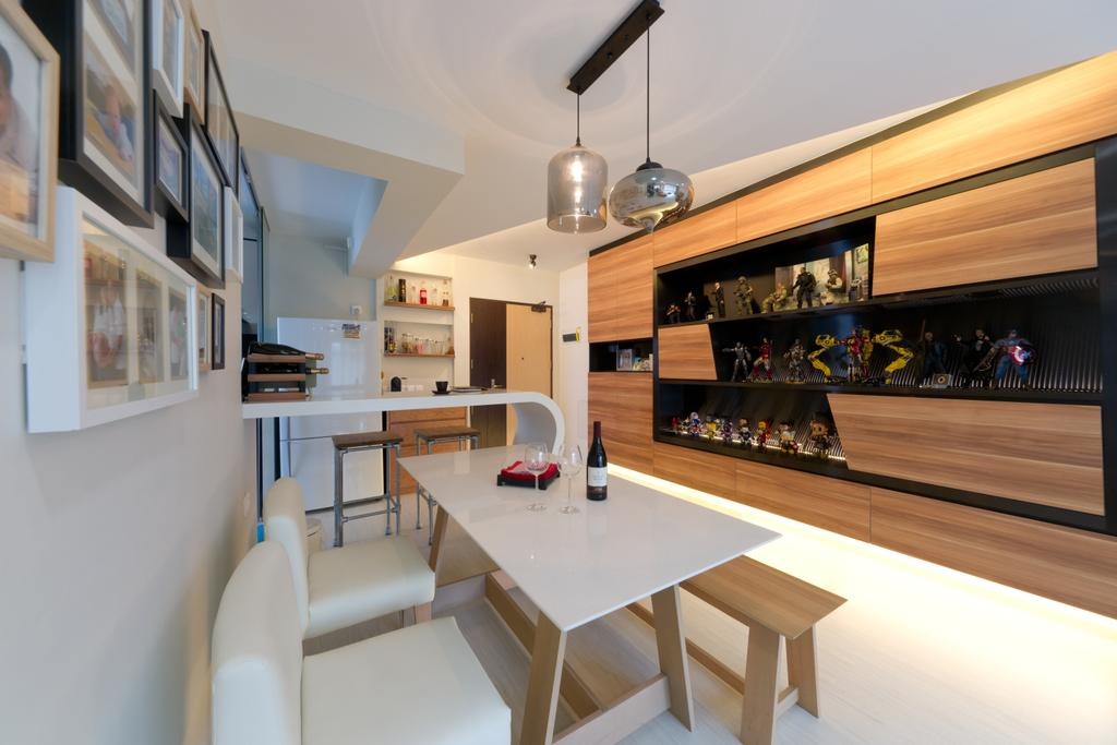 Contemporary, HDB, Dining Room, Punggol Drive, Interior Designer, D Initial Concept, Furniture, Indoors, Interior Design, Room, Dining Table, Table, Appliance, Electrical Device, Oven, Kitchen