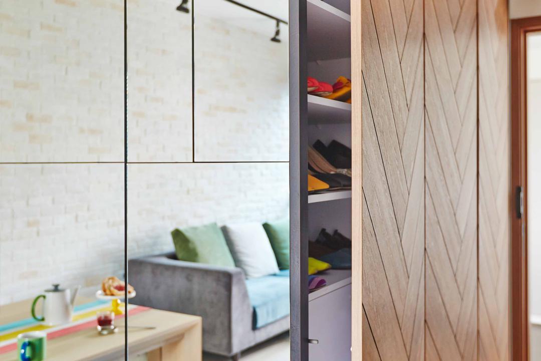 The Canopy, Fuse Concept, Eclectic, Living Room, Condo, Shoe Case, Shoe Shelf, Wooden Doors, Mirror, Full Length Mirror, Sink, Indoors, Interior Design
