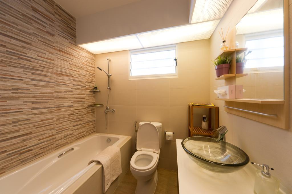 Contemporary, HDB, Bathroom, Punggol Drive, Interior Designer, D Initial Concept, Toilet, Sink, Flora, Jar, Plant, Potted Plant, Pottery, Vase, Indoors, Interior Design, Room