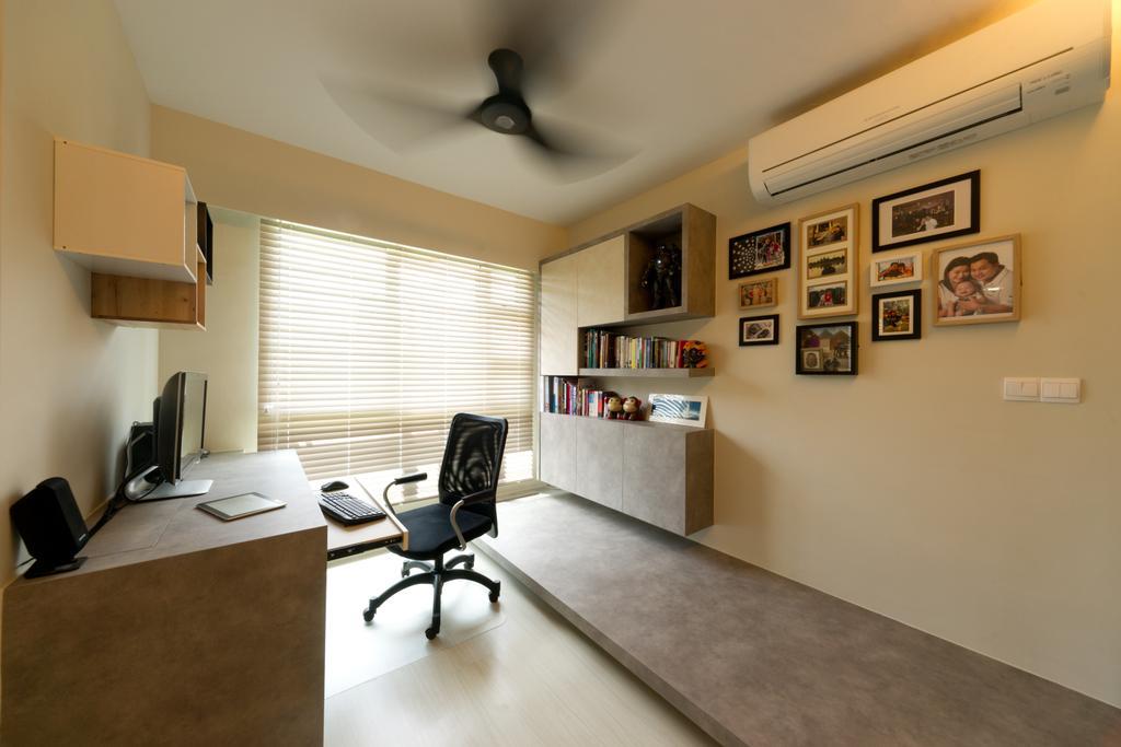 Contemporary, HDB, Study, Punggol Drive, Interior Designer, D Initial Concept, Shelf, Indoors, Interior Design, Office