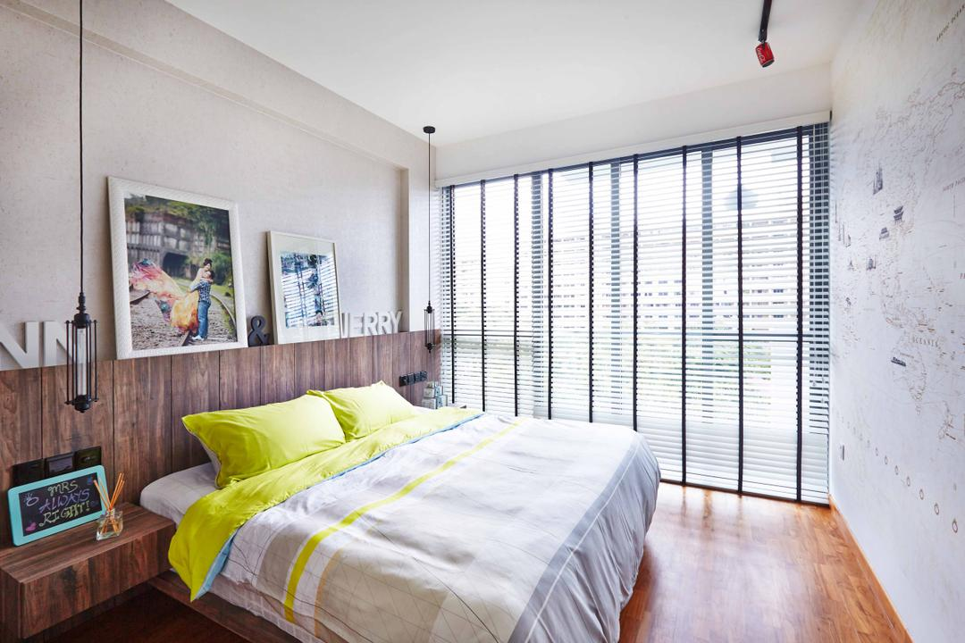 The Canopy, Fuse Concept, Eclectic, Bedroom, Condo, White Wall, Venetian Blinds, Full Length Window, Wooden Flooring, Brown Flooring, Laminated Floor, Wooden Laminate, Wooden Headboard, Wooden Bedside Table, Portraits, Hanging Lights, Bed, Furniture, Indoors, Interior Design, Room