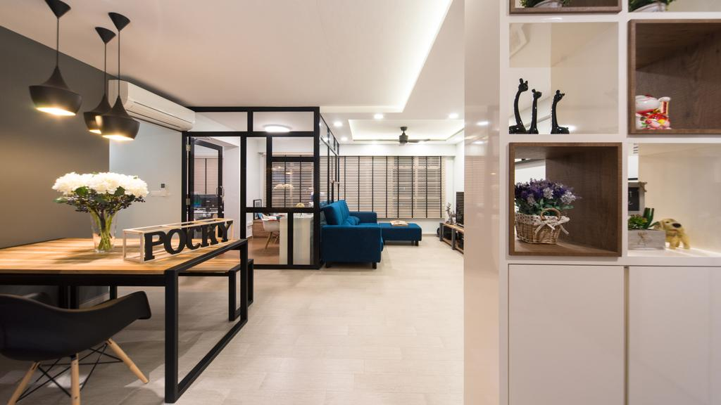 Modern, HDB, Dining Room, Anchorvale Street, Interior Designer, D Initial Concept, Contemporary, Flora, Jar, Plant, Potted Plant, Pottery, Vase, Dining Table, Furniture, Table, Indoors, Interior Design, Room