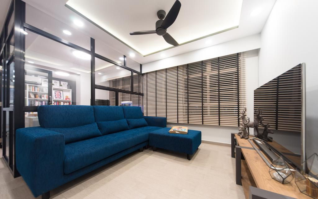 Modern, HDB, Living Room, Anchorvale Street, Interior Designer, D Initial Concept, Contemporary, Couch, Furniture, Bench, Banister, Handrail, Indoors, Interior Design