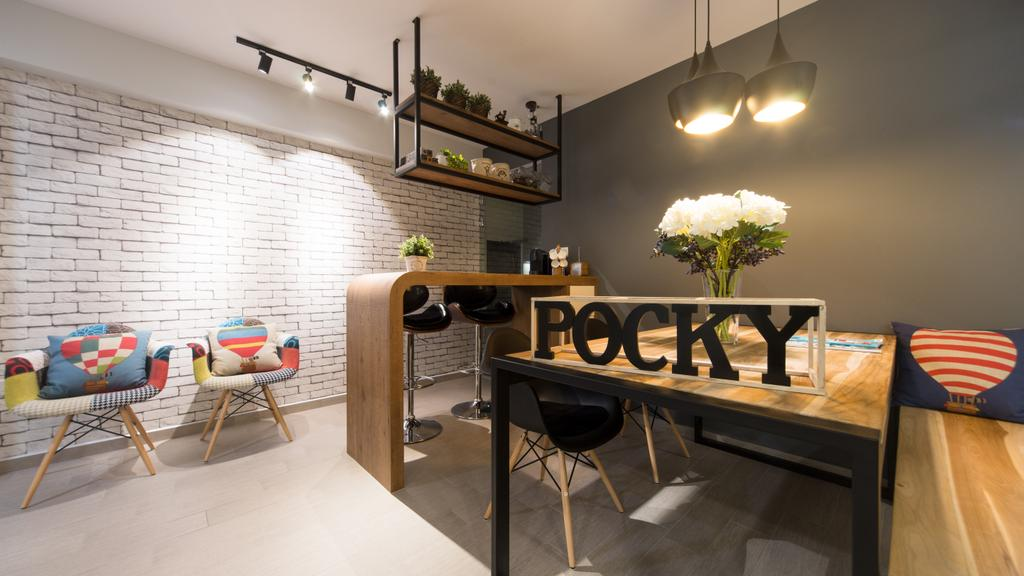 Modern, HDB, Dining Room, Anchorvale Street, Interior Designer, D Initial Concept, Contemporary, Chair, Furniture, Indoors, Interior Design, Room