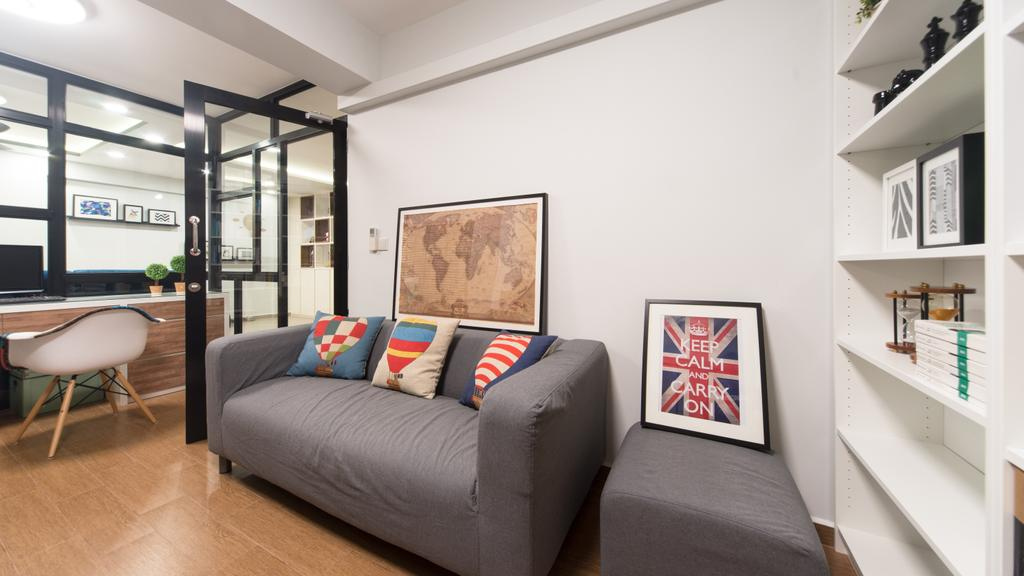 Modern, HDB, Anchorvale Street, Interior Designer, D Initial Concept, Contemporary, Couch, Furniture, Door, Sliding Door, Folding Door