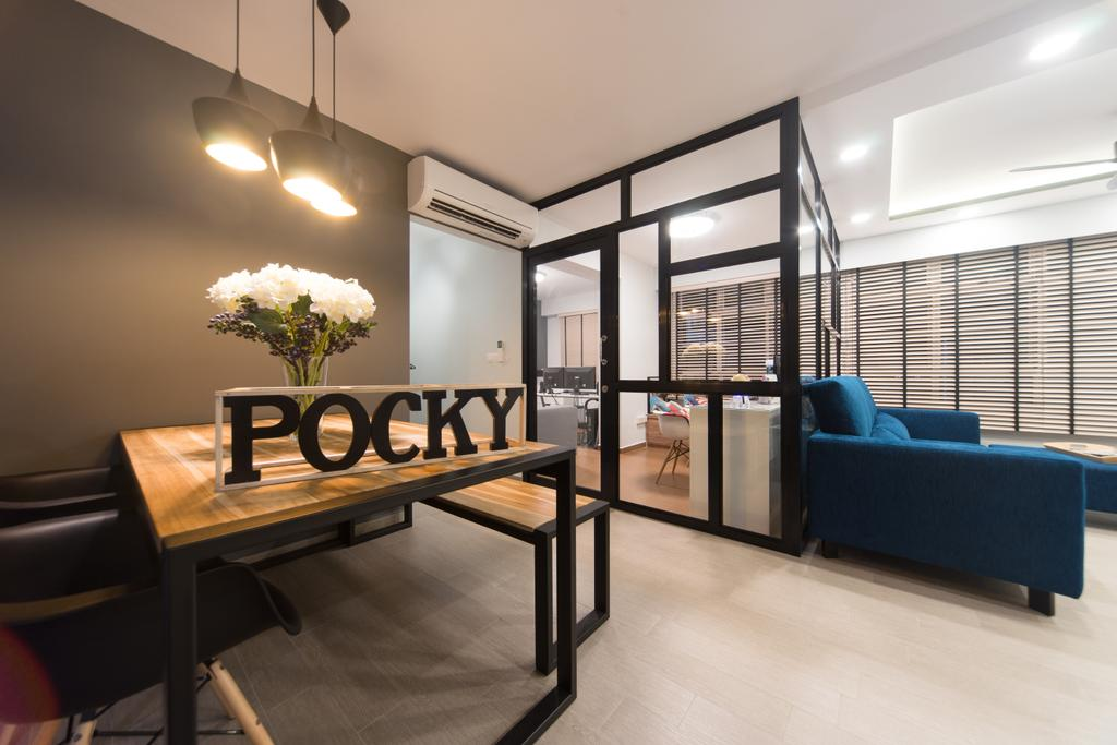 Modern, HDB, Dining Room, Anchorvale Street, Interior Designer, D Initial Concept, Contemporary, Dining Table, Furniture, Table, Chair, Couch, Indoors, Interior Design, Art, Blossom, Flora, Flower, Flower Arrangement, Ikebana, Jar, Ornament, Plant, Pottery, Vase