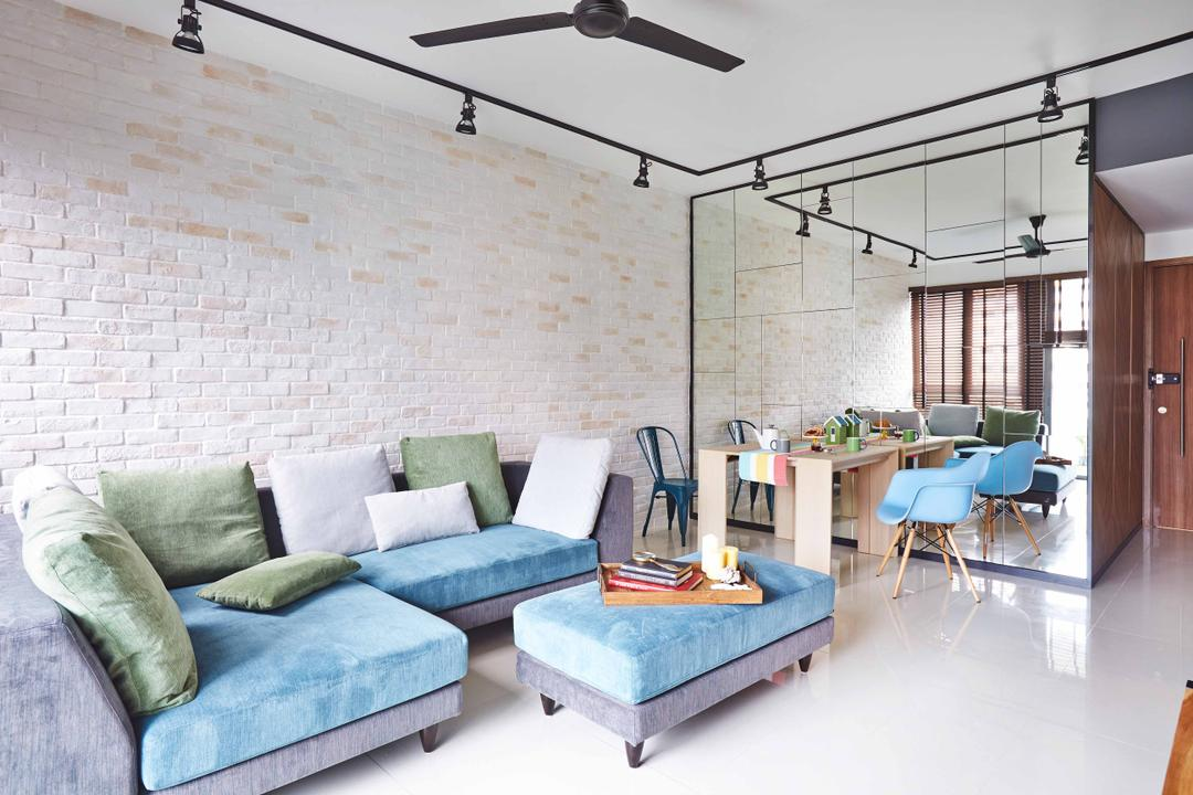 The Canopy, Fuse Concept, Eclectic, Living Room, Condo, Black Ceiling Fan, Ceiling Fan, Brick Wall, White Brick Wall, Mirror, Full Length Mirror, Exposed Lighting, White, Blue Sofa, L Shaped Sofa, Cushioned Table, Green Cushions, Dining Table, Wooden Table, Couch, Furniture, Studio Couch