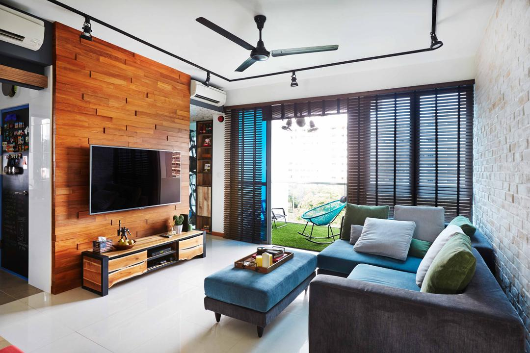 The Canopy, Fuse Concept, Eclectic, Living Room, Condo, Black, Brick Wall, White, Feature Wall, Wooden, Brown, Tv Shelf, Tv Console, Flatscreen Tv, Wall Mount Tv, L Shaped Sofa, Sofa, Blue Sofa, Green Cushions, Cushioned Table, Exposed Lighting, Blackboard, Couch, Furniture, Indoors, Room