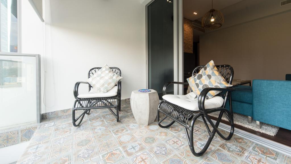 Industrial, Condo, Balcony, Ascentia Sky, Interior Designer, D Initial Concept, Chair, Furniture, Dining Room, Indoors, Interior Design, Room