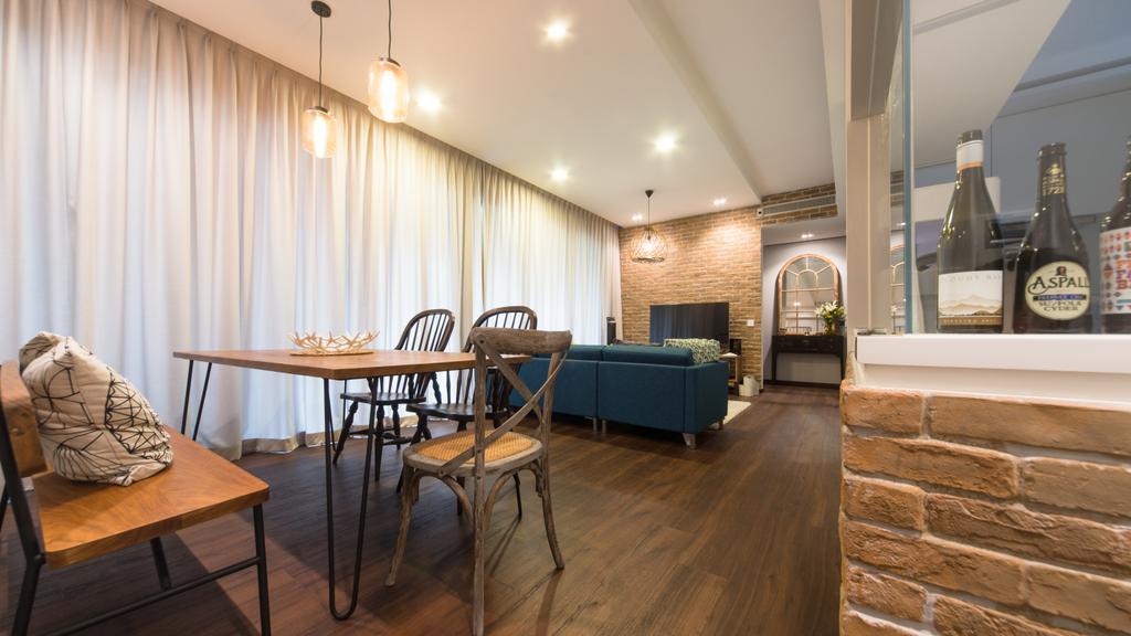 Industrial, Condo, Dining Room, Ascentia Sky, Interior Designer, D Initial Concept, Bottle, Chair, Furniture, Couch, Indoors, Interior Design