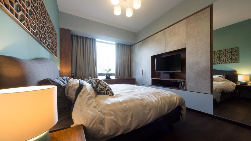 Industrial, Condo, Bedroom, Ascentia Sky, Interior Designer, D Initial Concept, Bed, Furniture, Indoors, Room, Lighting