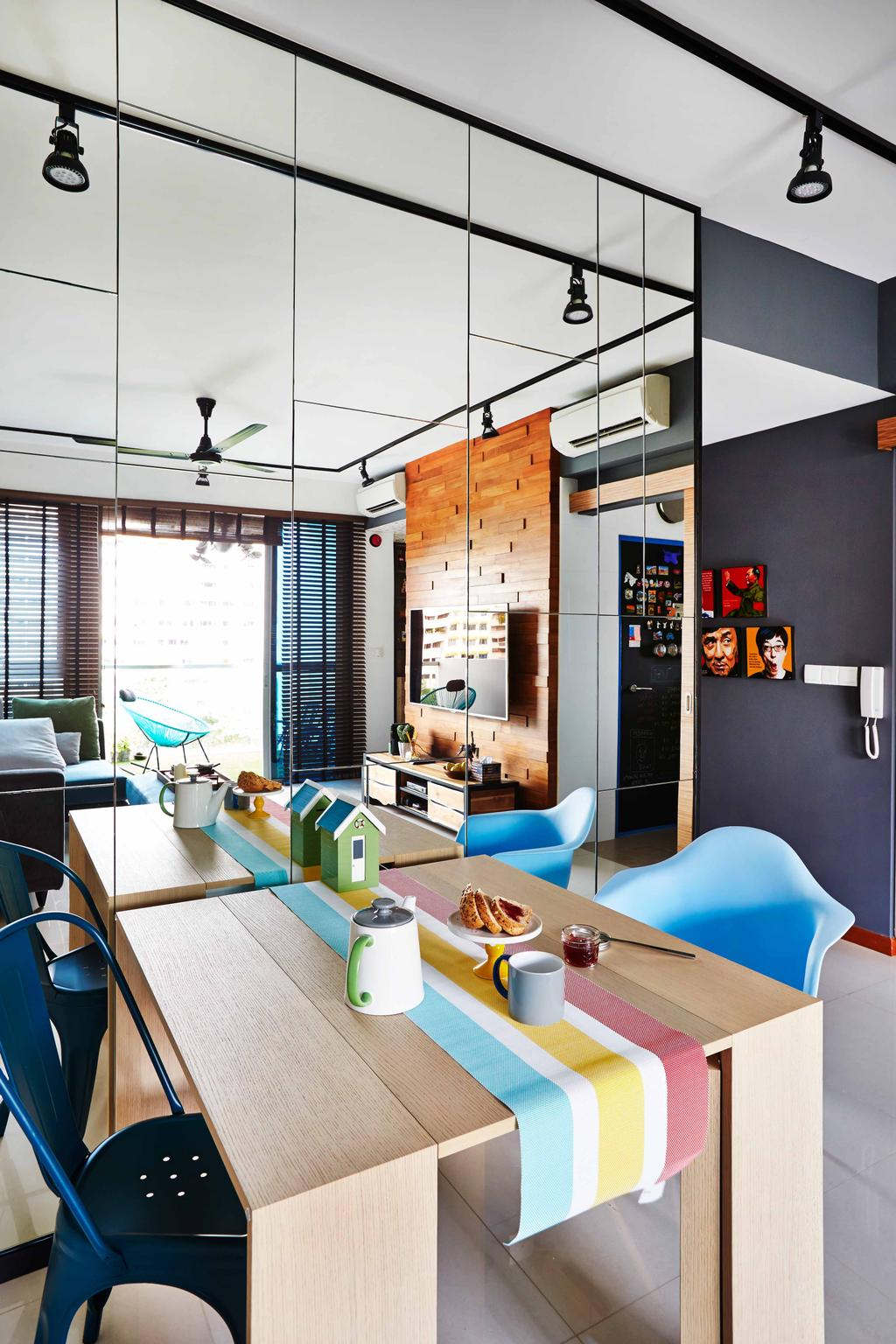 Eclectic, Condo, Dining Room, The Canopy, Interior Designer, Fuse Concept, Colourful Table Mat, Wooden Table, Dining Table, Full Length Mirror, Mirror, Track Lights, Blue Chair, Baby Blue, Dark Blue, Wall Portrait, Small House Decor, Collage, Poster, Indoors, Interior Design, Room, Sink