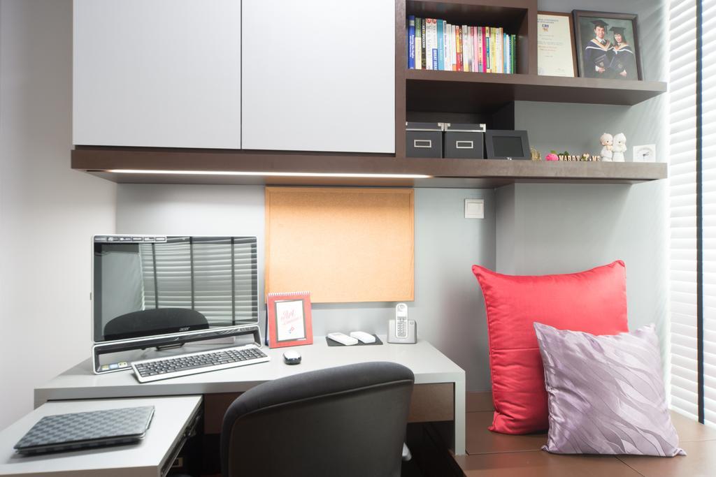 Modern, Condo, Study, Esparina, Interior Designer, D Initial Concept, Bookcase, Furniture, Desk, Table