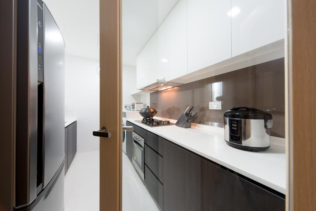 Esparina, D Initial Concept, Modern, Kitchen, Condo, Cooker, Indoors, Interior Design, Room