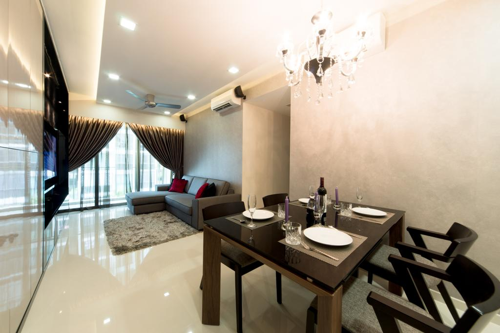 Modern, Condo, Dining Room, Esparina, Interior Designer, D Initial Concept, Indoors, Interior Design, Room, Dining Table, Furniture, Table, HDB, Building, Housing, Loft