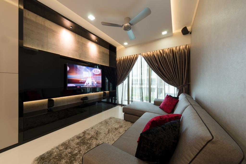 Modern, Condo, Living Room, Esparina, Interior Designer, D Initial Concept, Couch, Furniture, Electronics, Entertainment Center, Home Theater, Lighting, Indoors, Interior Design