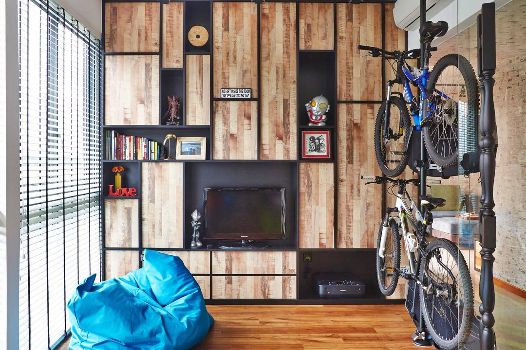 The Canopy, Fuse Concept, Eclectic, Living Room, Condo, Track Lights, Bicycle Rack, Wooden Flooring, Brown Flooring, Wooden Laminate, Laminated Floor, Wooden Wall, Venetian Blinds, Bean Bag, Blue, Wall Shelf, In Built Shelves, Open Shelves, Bicycle, Bike, Transportation, Vehicle