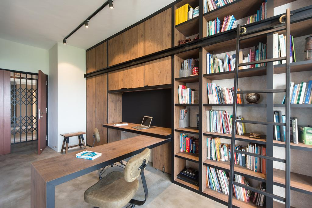 Industrial, Condo, Study, Park West, Interior Designer, D Initial Concept, Bookcase, Furniture, Chair