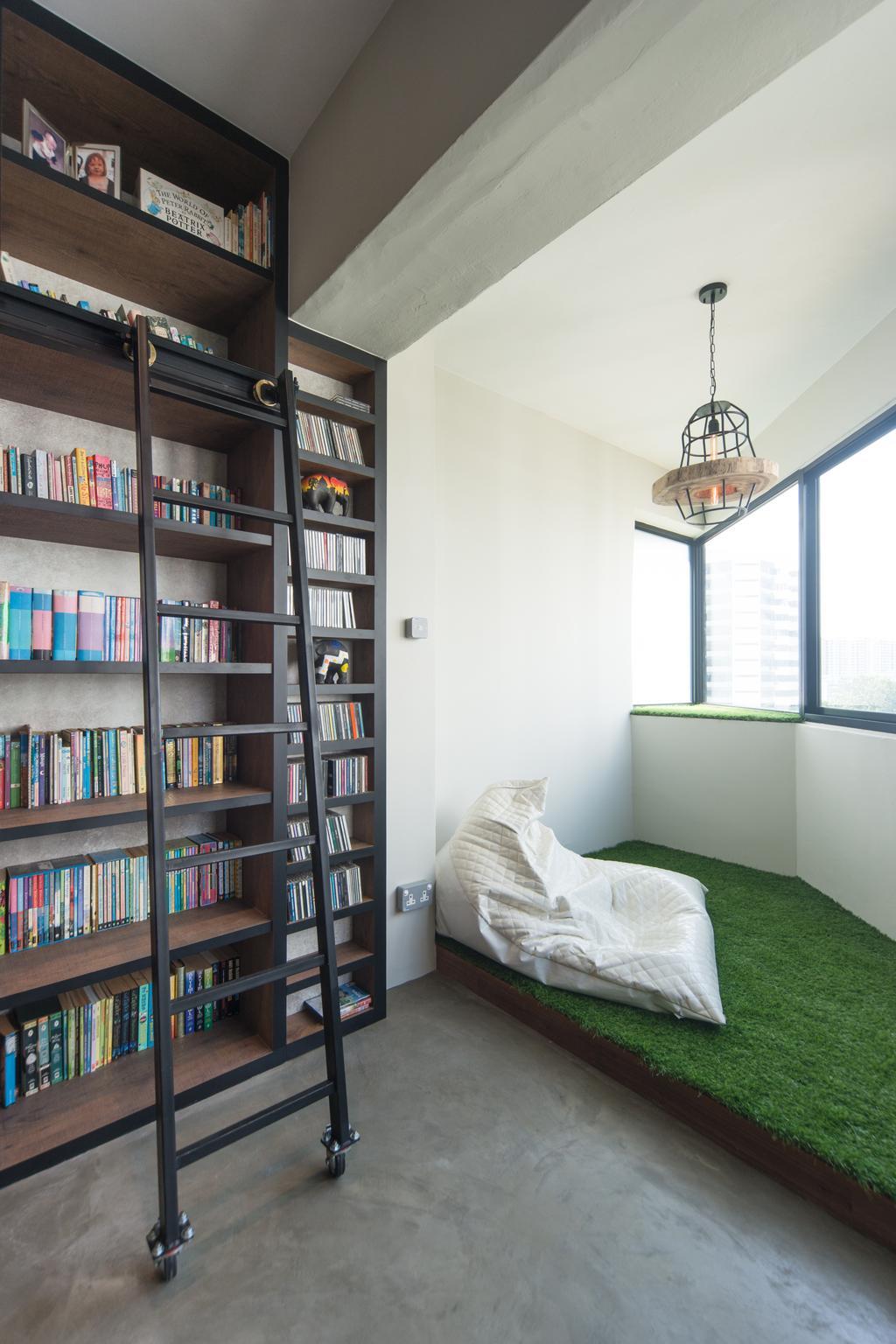Industrial, Condo, Study, Park West, Interior Designer, D Initial Concept, Bookcase, Furniture, Shelf