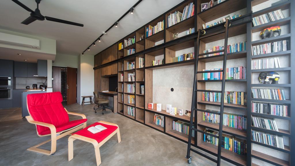 Industrial, Condo, Study, Park West, Interior Designer, D Initial Concept, Chair, Furniture, Indoors, Interior Design, Library, Room, Bookcase