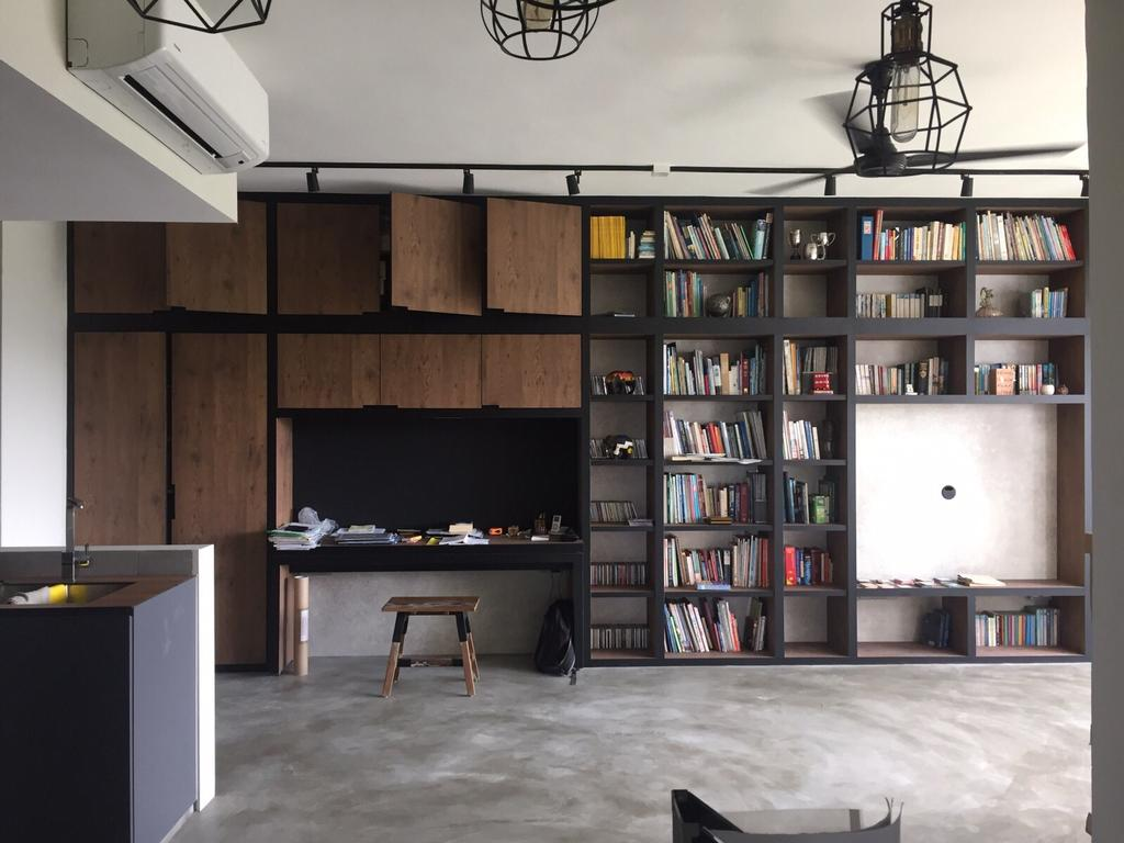 Industrial, Condo, Study, Park West, Interior Designer, D Initial Concept, Bookcase, Furniture, Sink, Dining Table, Table
