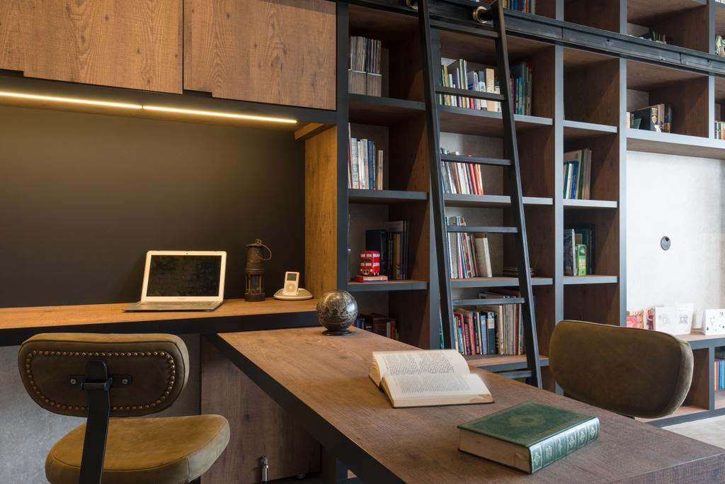 Industrial, Condo, Study, Park West, Interior Designer, D Initial Concept, Couch, Furniture, Chair, Desk, Table