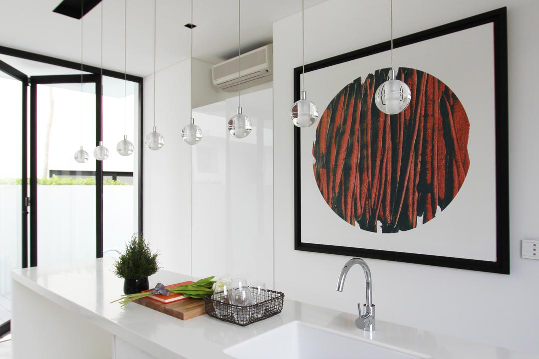 Sembawang Place, Dreammetal, Modern, Kitchen, Landed, Hanging Lights, Marble Flooring, Portrait, White Kitchen Counter, White Kitchen Top, White Theme, Black Framed Doors, Flora, Jar, Plant, Potted Plant, Pottery, Vase