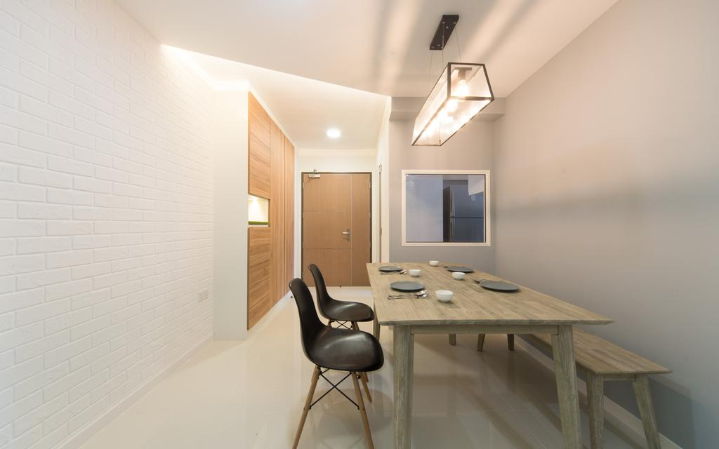 Minimalistic, Condo, Parkland Residences, Interior Designer, D Initial Concept, Chair, Furniture, Light Fixture, Dining Table, Table, Plywood, Wood, Dining Room, Indoors, Interior Design, Room, HDB, Building, Housing