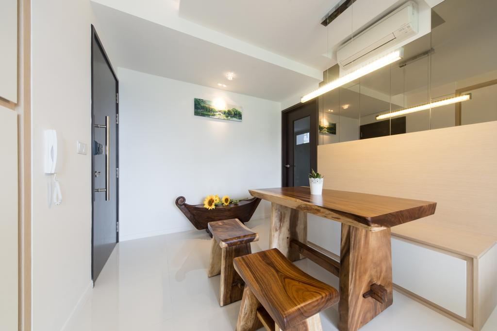 Minimalist, Condo, Dining Room, RiverParc Residence, Interior Designer, D Initial Concept, Shelf, Furniture, Indoors, Interior Design, Dining Table, Table