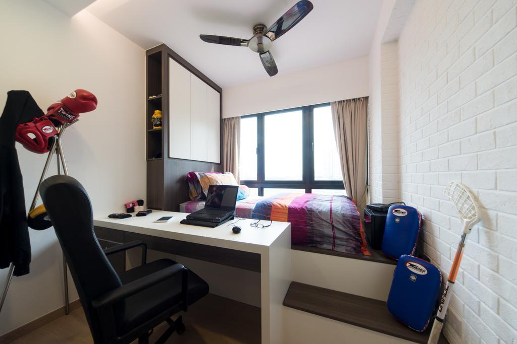 Minimalistic, Condo, Bedroom, RiverParc Residence, Interior Designer, D Initial Concept, Chair, Furniture, Luggage, Suitcase