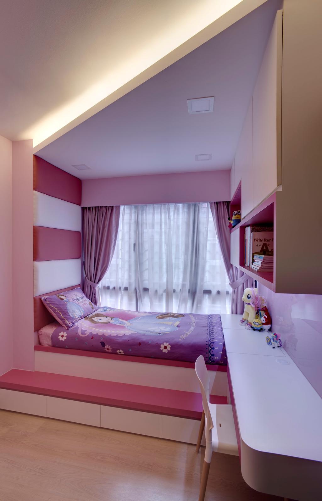Modern, Condo, Bedroom, RiverParc Residence, Interior Designer, D Initial Concept, Curtain, Home Decor