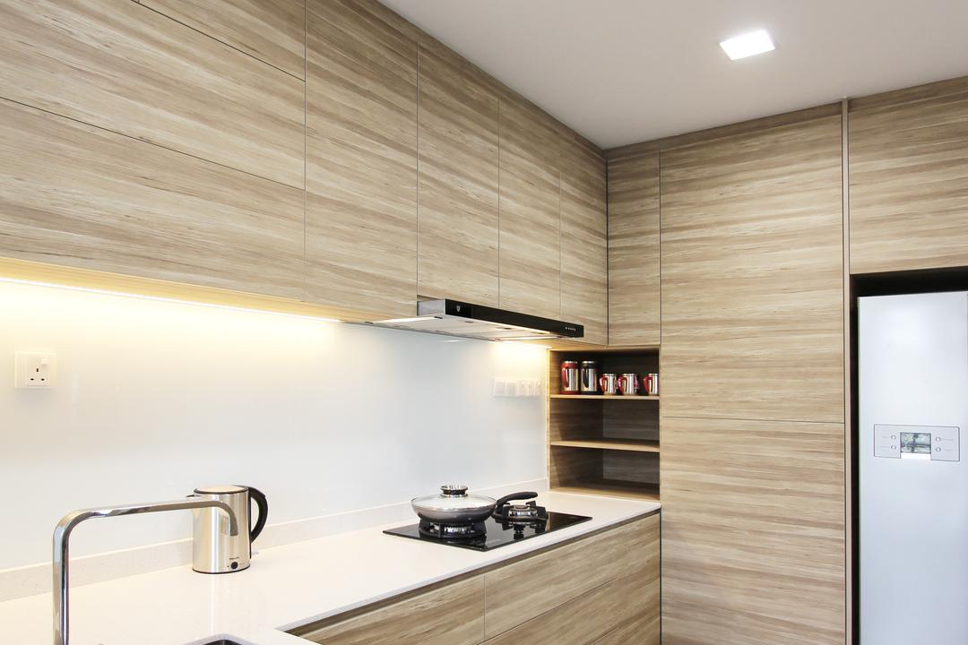 Sin Ming Plaza, Dreammetal, Contemporary, Kitchen, Condo, Recessed Lights, Wooden Flooring, Light Wood Colour, White Ceiling, White Kitchen Sink, Wooden Laminate, Wooden Shelf, Laminated Cabinet, Indoors, Interior Design