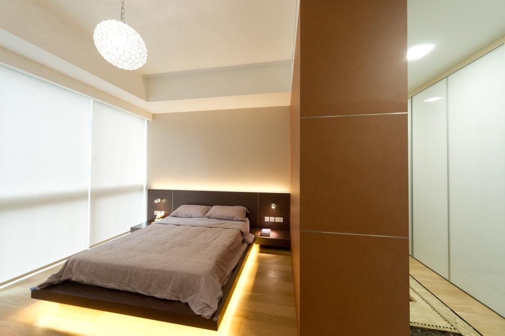 Minimalistic, Condo, Bedroom, Scotts Highpark, Interior Designer, D Initial Concept, Bed, Furniture, Indoors, Interior Design, Hardwood, Wood