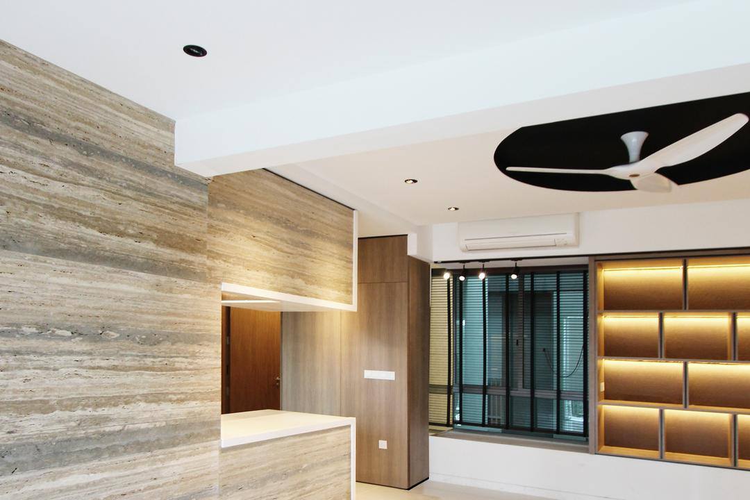 St. Patricks, Dreammetal, Modern, Condo, Monochrome Ceiling Fan, Recessed Lights, White Flooring, Concealed Lighting, Shelf Lighting, Wooden Wall, Laminated Wall, Wooden Laminate, Curtain, Home Decor, Window, Window Shade, Indoors, Interior Design