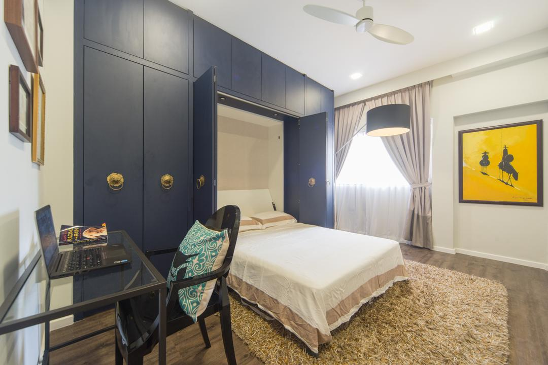 Spanish Village, D Initial Concept, Modern, Vintage, Condo, Chair, Furniture, Bed, Coat Rack, Bedroom, Indoors, Interior Design, Room