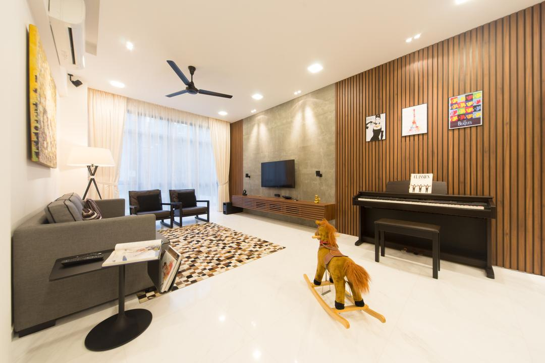 The Sterling, D Initial Concept, Modern, Living Room, Condo, Leisure Activities, Music, Musical Instrument, Piano, Indoors, Interior Design, Electronics, Entertainment Center, Home Theater, Couch, Furniture, Upright Piano