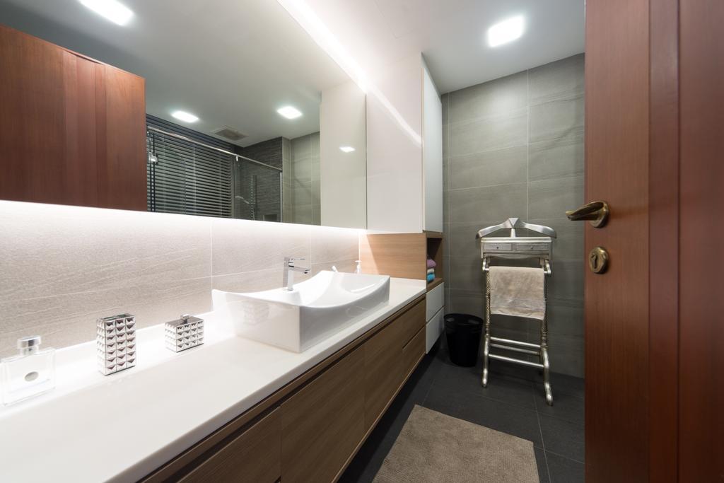 Modern, Condo, Bathroom, The Sterling, Interior Designer, D Initial Concept, Indoors, Interior Design, Room, Sink