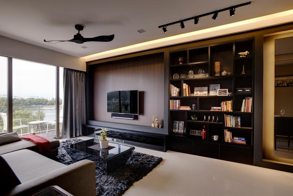 Modern, Condo, Living Room, Waterfront Gold, Interior Designer, D Initial Concept, Indoors, Room, Bookcase, Furniture, Interior Design, Dining Room
