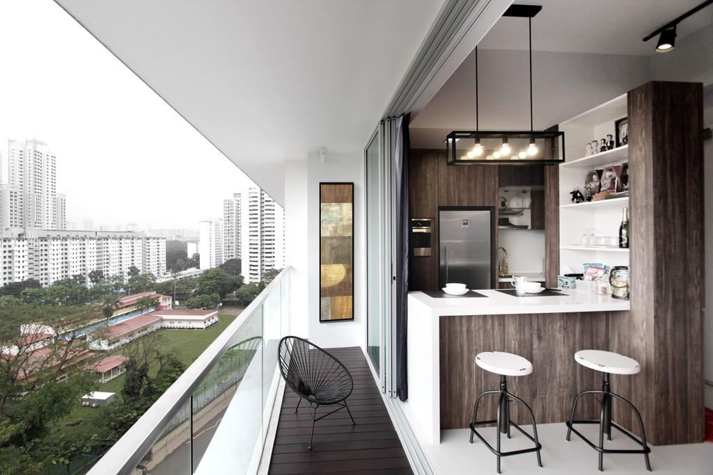 Contemporary, Condo, Balcony, Zion Road, Architect, Dreammetal, Pendant Lights, Glass Arricade, Outdoor Chair, Wooden Laminate, Laminated Wood, White Stools, White Shelves, Laminated Cabinet, Chair, Furniture, Indoors, Interior Design, Table, Dining Table, Appliance, Electrical Device, Fridge, Refrigerator