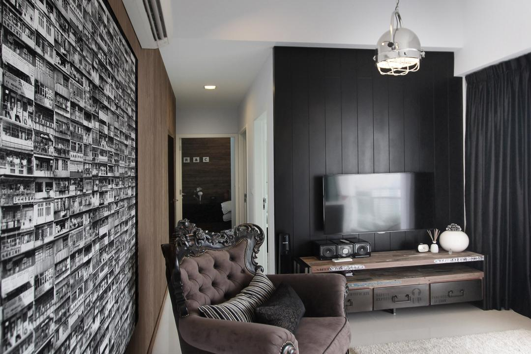 Zion Road, Dreammetal, Contemporary, Living Room, Condo, Track Lights, Hanging Lights, Black Feature Wall, Feature Wall, Carpet, Black Curtains, Curtains, Wooden Wall, Classic Chair, Cushioned Chair, Dark Brown, Chair, Tv Console, Tv Shelf, Flatscreen Tv, Wall Mounted Tv, Wall Tv, Corridor, Indoors, Interior Design, Furniture, Room