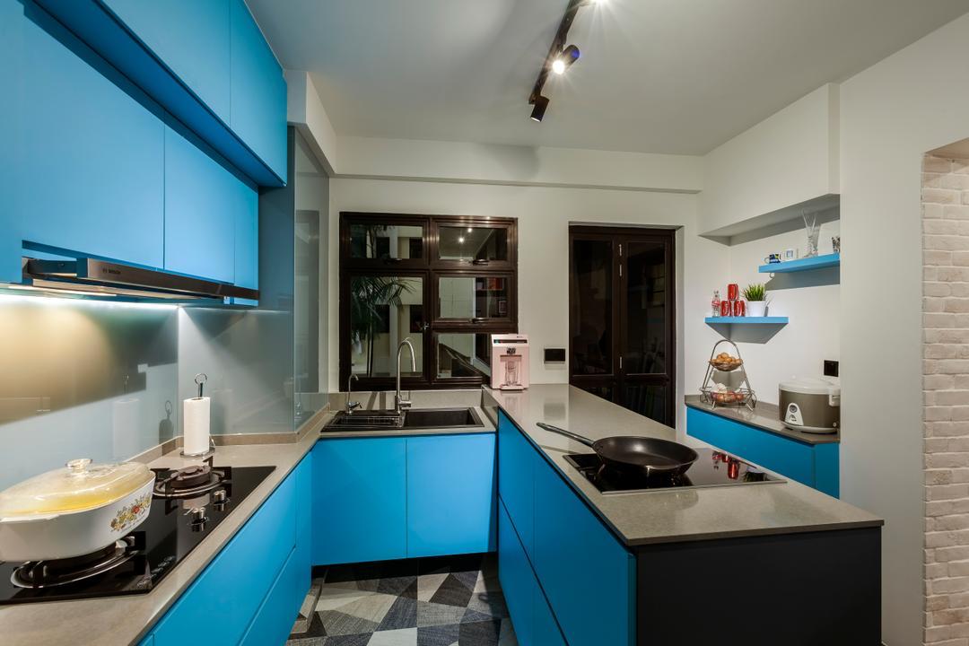 Blue Kitchen Cabinet Interior Design Singapore Interior Design Ideas