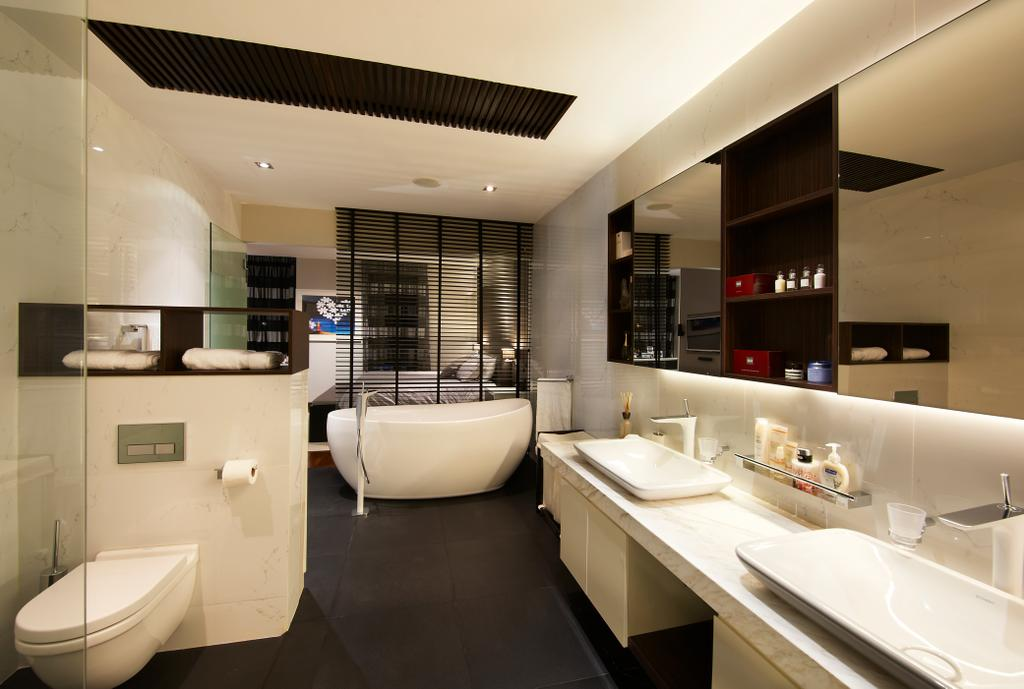 Modern, Landed, Bathroom, Lorong Stangee, Interior Designer, Spire Id, White Ceiling, Black Flooring, White Sink, White Basin, Mirror, Concealed Lighting, White, Bathtub, Mirror Cabinet, Sink, Indoors, Interior Design, Tub, Room